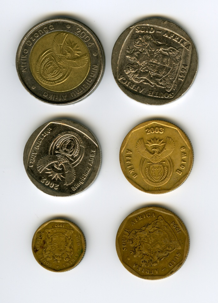 South-Africa-coins-various-values-ZAR-South-African-Rand-R5-old-and-new-bimetal-R2-50c-10c-worn-tarnished-back-1-DHD